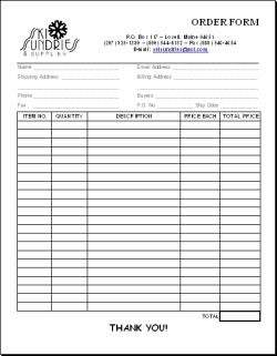 Ski Sundries Order Form